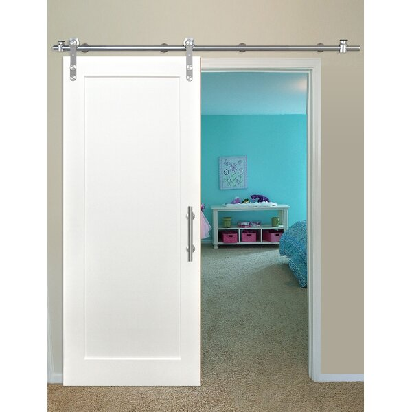 Shaker 1 Panel Primed Solid Wood Panelled Pine Interior Barn Door by Creative Entryways