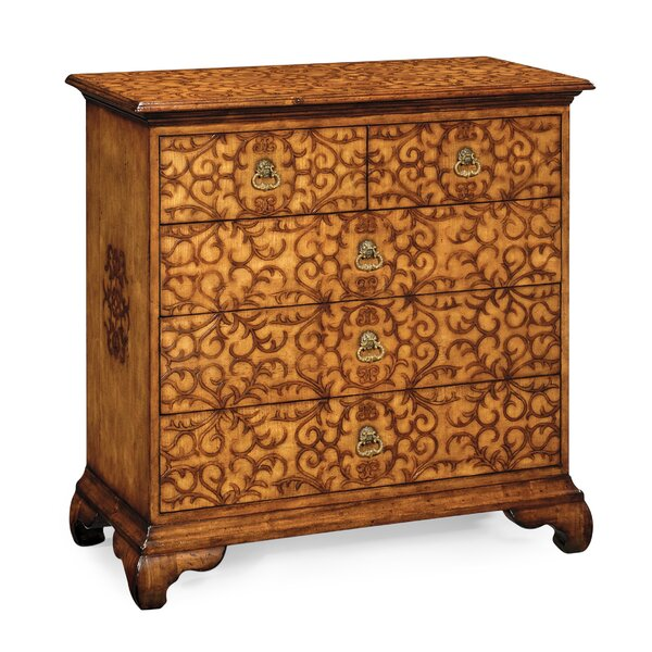 Moroccan Raised Arabesques 5 Drawer Accent Chest by Jonathan Charles Fine Furniture