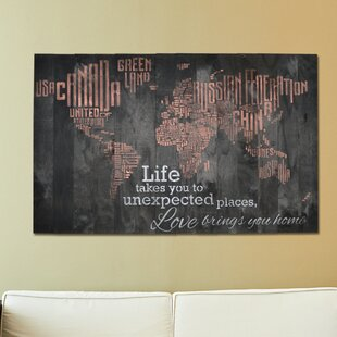 World map push pin board wayfair in a word world map life takes you to unexpected places love brings you home textual art gumiabroncs Images
