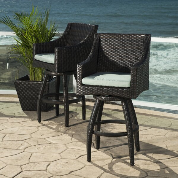 "Northridge 30"" Patio Bar Stool with Cushion (Set of 2) by Three Posts"