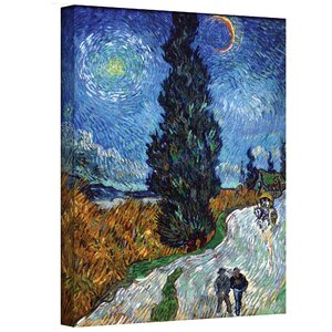 ''Country Road in Provence by Night'' by Vincent Van Gogh Painting Print on Canvas by ArtWall