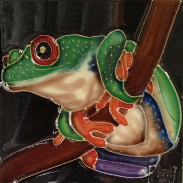 Tree Frog on A Branch Tile Wall Decor by Continental Art Center