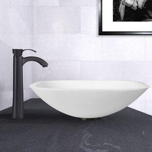 Phoenix Glass Square Vessel Bathroom Sink with Faucet By VIGO