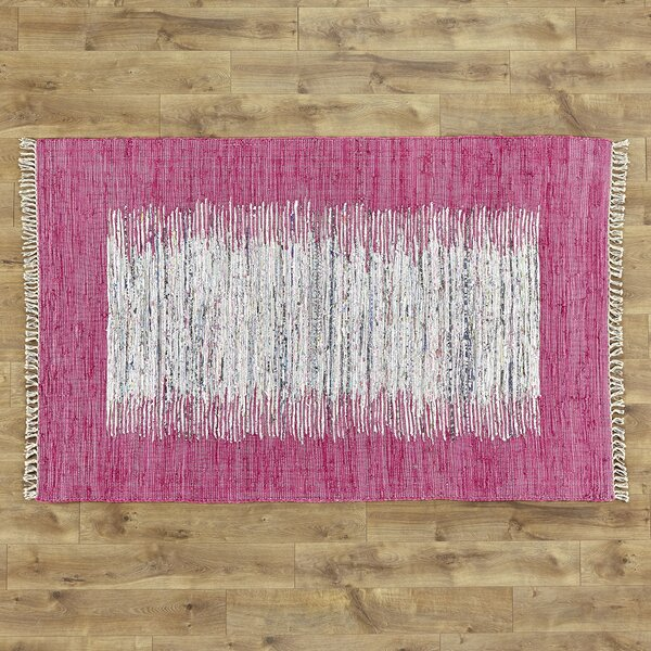 Static Hand-Woven Wool Pink/White Area Rug by Birc