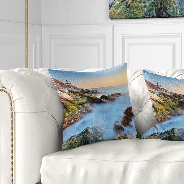 Beach Beavertail Lighthouse During Winter Pillow by East Urban Home