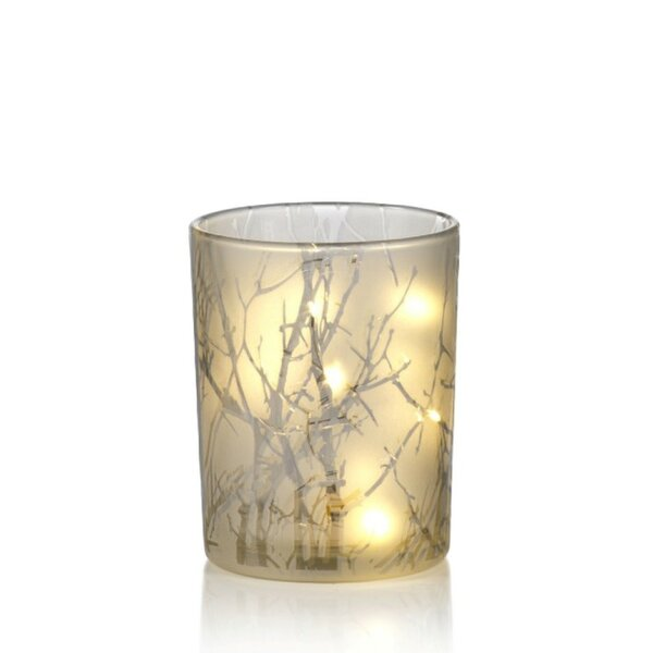 Branch Etched LED Glass Hurricane (Set of 2) by Latitude Run