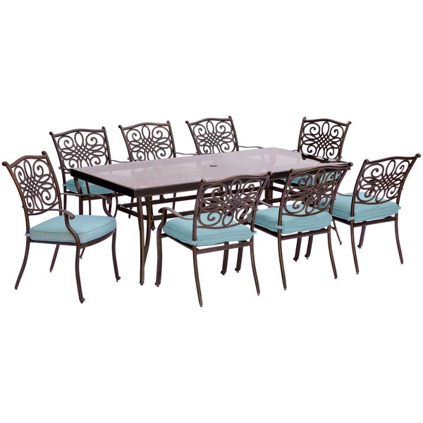 Lauritsen 9 Piece Modern Dining Set with Cushions by Three Posts
