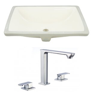 Comparison Ceramic Rectangular Undermount Bathroom Sink with Faucet and Overflow ByAmerican Imaginations