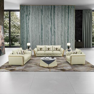 Mccampbell 3 Piece Leather Living Room Set by Everly Quinn