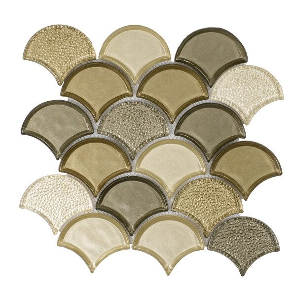 Fan Glass Mosaic Tile in Champagne by Byzantin Mosaic