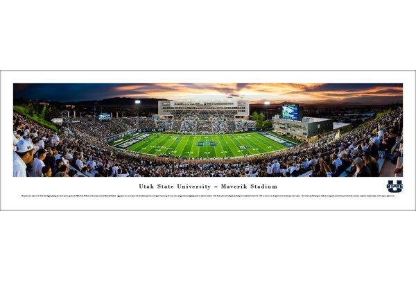 NCAA Utah State Football Stripe 50 Yard Line Photographic Print by Blakeway Worldwide Panoramas, Inc