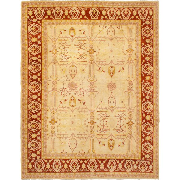 One-of-a-Kind Elosie Hand-Knotted Wool Cream Area Rug by Isabelline