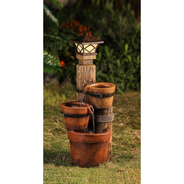 Resin/Fiberglass Solar 3 Pot Pillar Lamp Water Fountain by Jeco Inc.
