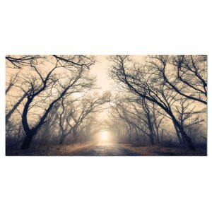 'Vintage Autumn Forest in Fog' Photographic Print on Wrapped Canvas by Design Art