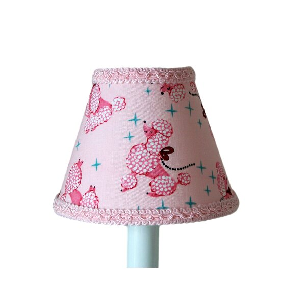 Prissy Poodle 7 H Fabric Empire Lamp Shade ( Screw On ) in Pink