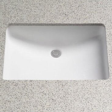 Rimless Ceramic Rectangular Undermount Bathroom Sink with Overflow by Toto