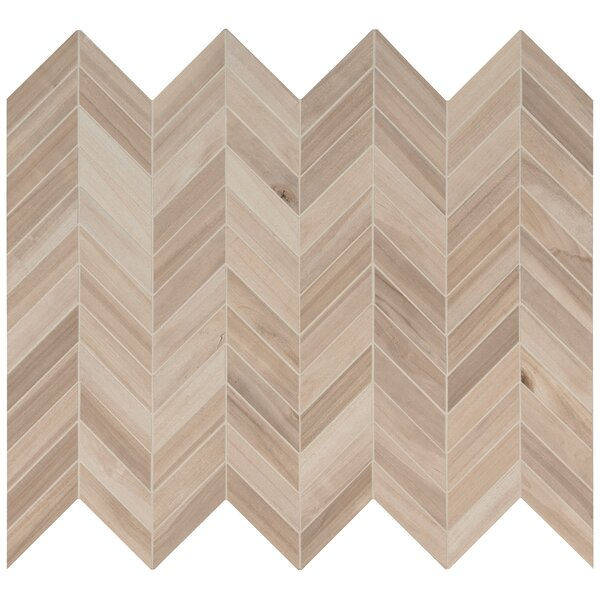 Havenwood Chevron Mesh Mounted Porcelain Mosaic Tile in Beige by MSI