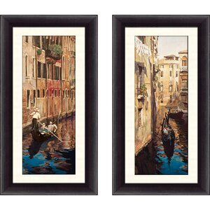 'Venezia I' 2 Piece Framed Acrylic Painting Print Set by Alcott Hill