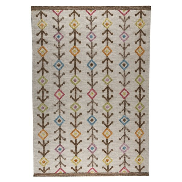 Khema 7 Hand-Woven Brown/Pink/Blue Area Rug by M.A. Trading