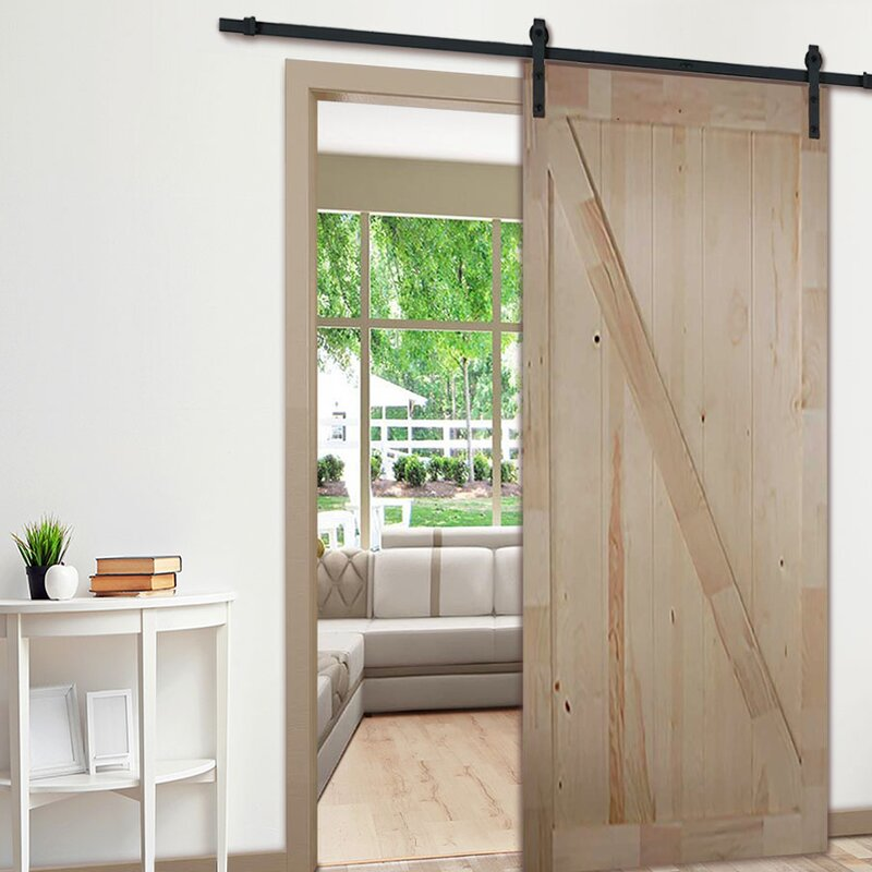 Knotty Pine Z Rail Solid Wood Panelled Slab Interior Barn Door