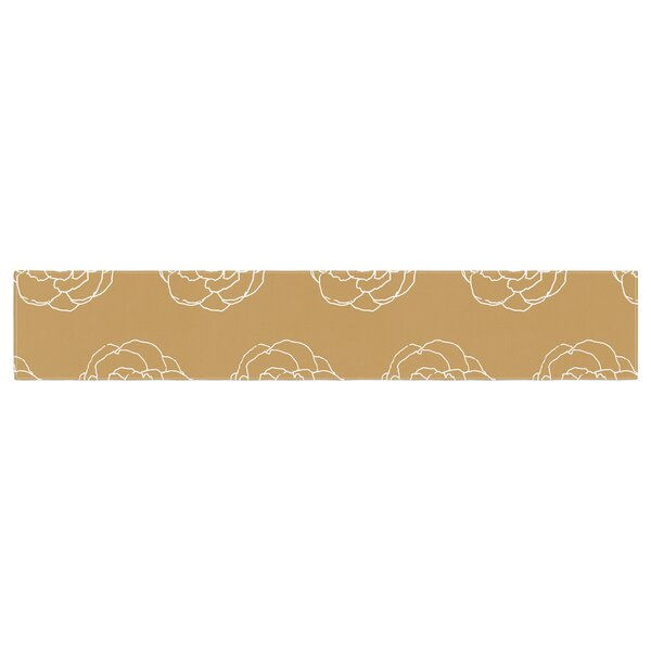 Pellerina Design Golden Peonies Table Runner by East Urban Home