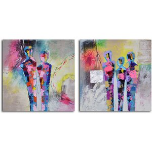 Kaleidoscope Figurines' 2 Piece Painting on Wrapped Canvas Set by My Art Outlet