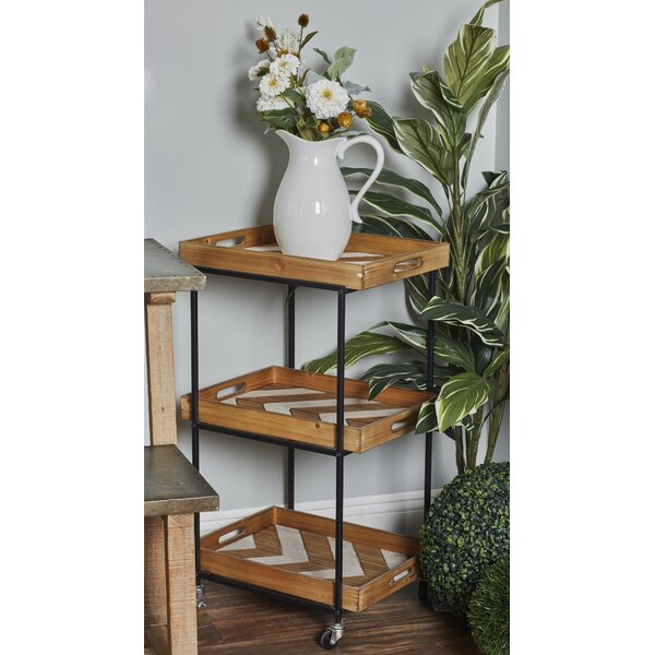 Dounton Traditional 3-Tiered Chevron Bar Cart by Union Rustic Union Rustic