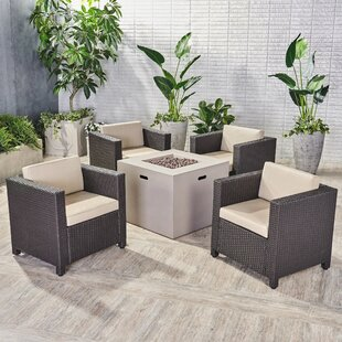 Ortonville Outdoor 5 Piece Rattan Sofa Seating Group with Cushions ByGracie Oaks