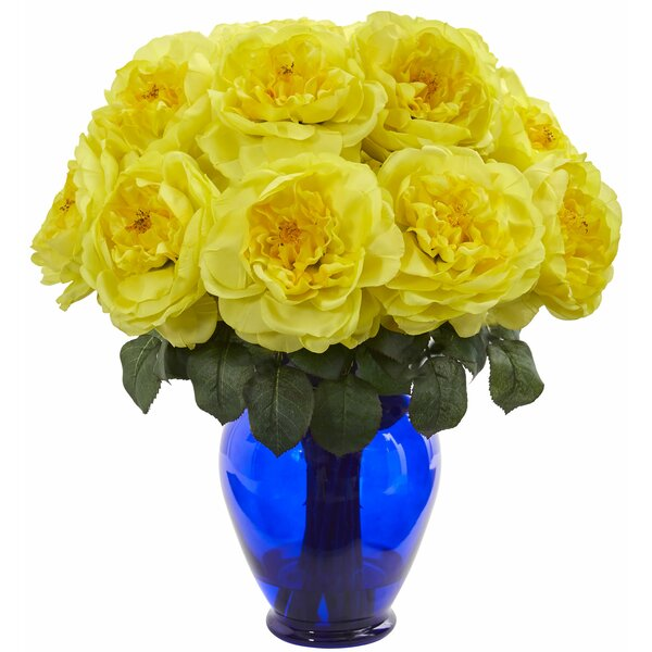 Artificial Rose Centerpiece in Vase by Rosdorf Park