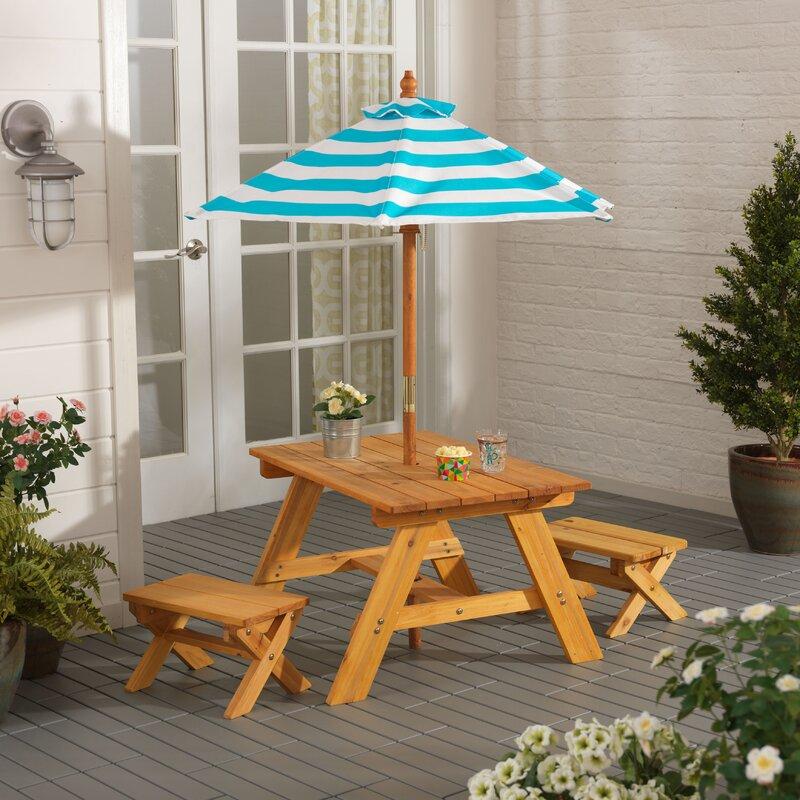 4 Piece Table Set Part - 47: Outdoor Kidsu0027 4 Piece Picnic Table Set With Umbrella
