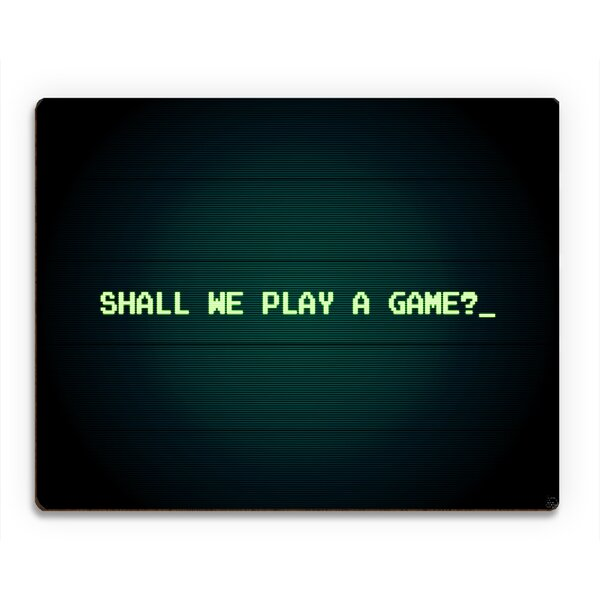 Wood Slats Shall We Play a Game Graphic Art on Plaque in Green by Click Wall Art