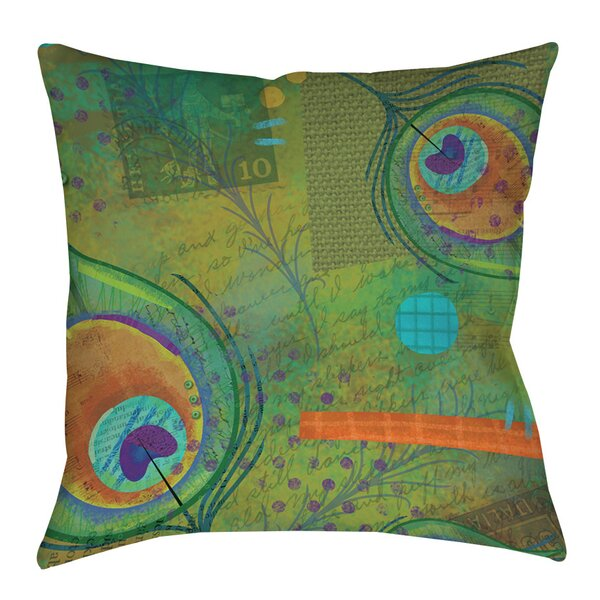 Peacock Pattern 2 Printed Throw Pillow by Manual Woodworkers & Weavers