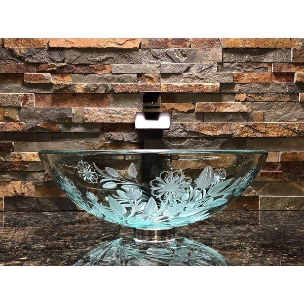 Lotus Glass Circular Vessel Bathroom Sink