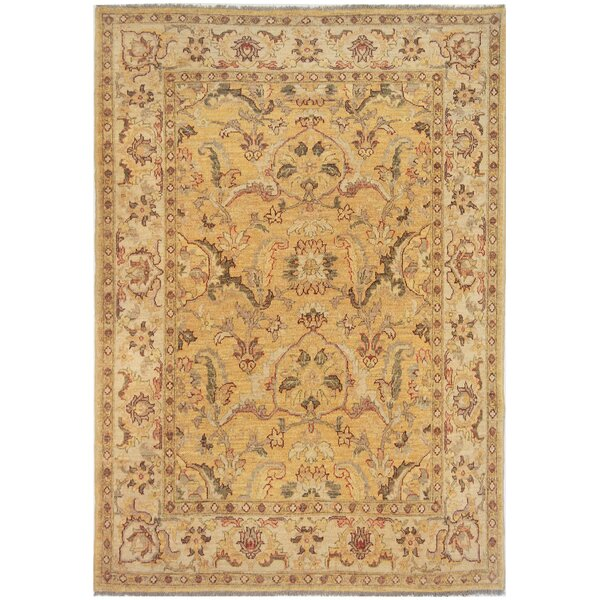 Agra Exquisite Hand-Knotted Wool Beige Indoor Area Rug by Mansour