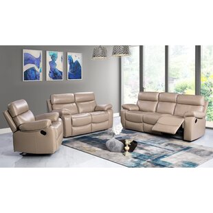 Mellor 3 Piece Leather Living Room Set Red Barrel Studio Wonderful