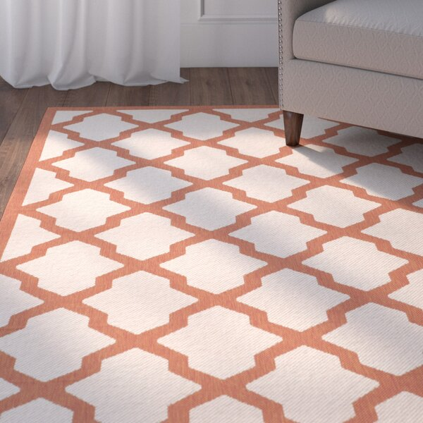 Short Beige/Terracotta Indoor/Outdoor Area Rug by Winston Porter