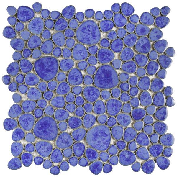 Boulder Random Sized Porcelain Pebble Tile in Blue Cloud by EliteTile