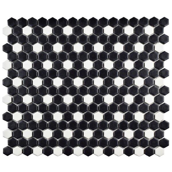Retro 0.75 W x 0.75 L Porcelain Mosaic Tile in Matte Black/White by EliteTile
