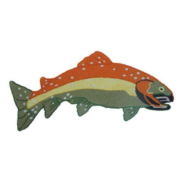 Fly Fishing Shaped Orange/Blue Area Rug by Patch Magic
