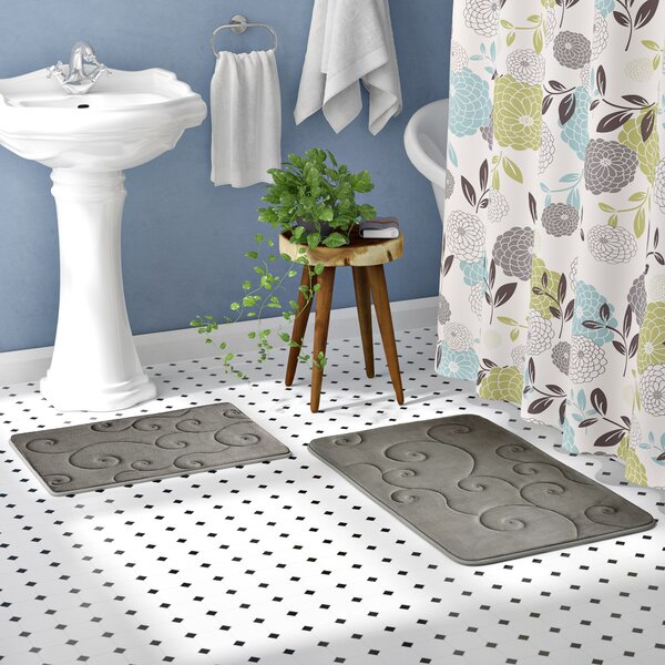 Taraval 2 Piece Embossed Memory Foam Bath Rug Set by The Twillery Co.
