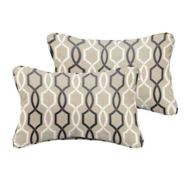 Bank Beige Black Indoor/ Outdoor Lumbar Pillow (Set of 2) by Darby Home Co