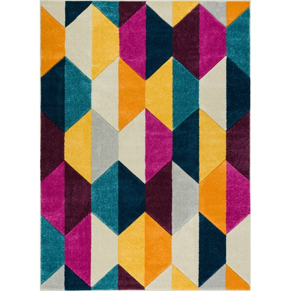 Herring Mid-Century Modern Polygon Shapes Cream Area Rug by Ebern Designs