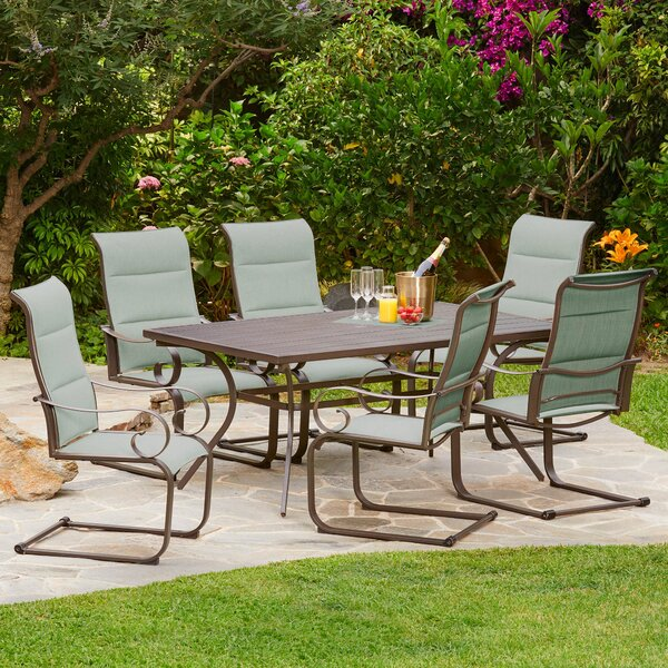 Zangerl Spring Hills Padded C-Spring 7 Piece Dining Set by Darby Home Co Darby Home Co