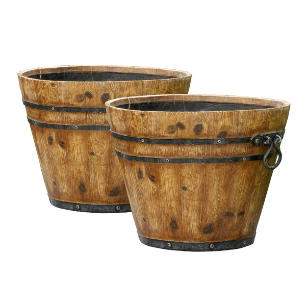 Fiberclay Barrel Planter (Set of 2) by Winsome House