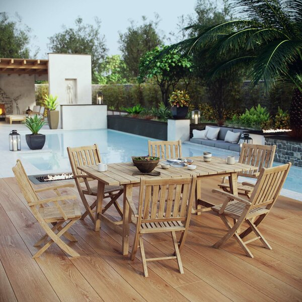 Elaina Outdoor Patio 7 Piece Teak Dining Set by Rosecliff Heights