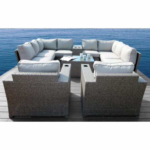 Normandy 12 Piece Rattan Sectional Seating Group with Cushions by Rosecliff Heights