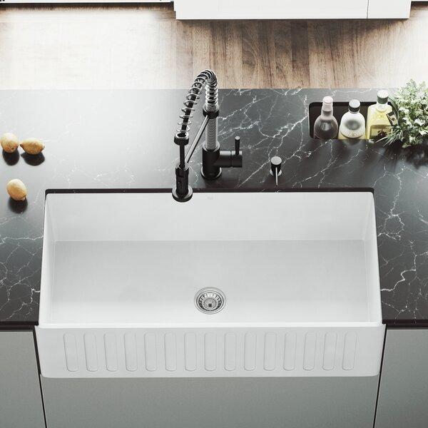 VIGO Matte Stone 36 L x 18 W Farmhouse Kitchen Sink with Faucet by VIGO