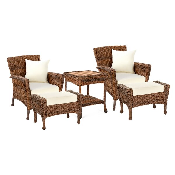 Wickline Outdoor Garden 5 Piece Seating Group with Cushions by Highland Dunes