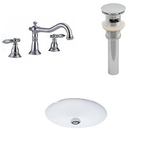 Price Check Ceramic Oval Undermount Bathroom Sink with Faucet and Overflow ByAmerican Imaginations