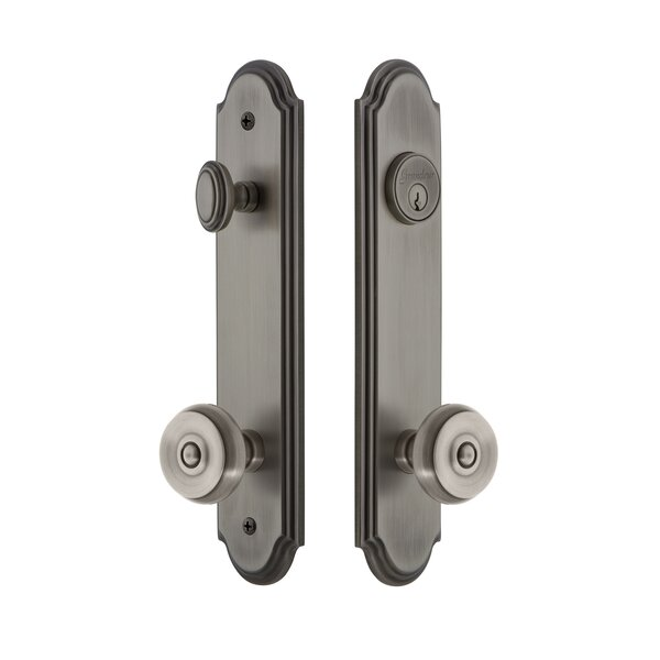 Arc Tall Plate Single Cylinder One Piece Knobset with Bouton Knob by Grandeur